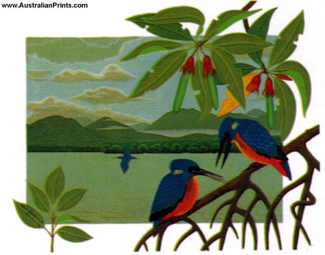 Anna Garland, Kingfishers On Mangroves