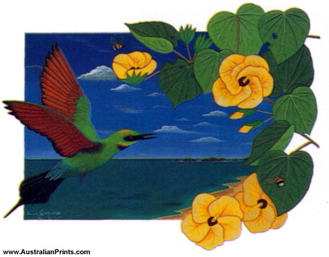 Anna Garland, Rainbow Bee Eater And Native Hibiscus