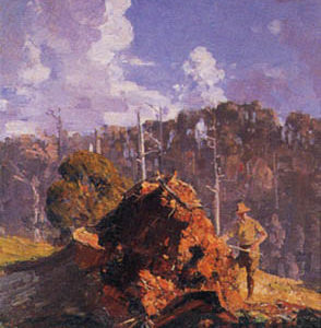 Arthur Streeton, Digger And His Log