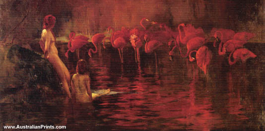 Sydney Long, Flamingoes, 1902