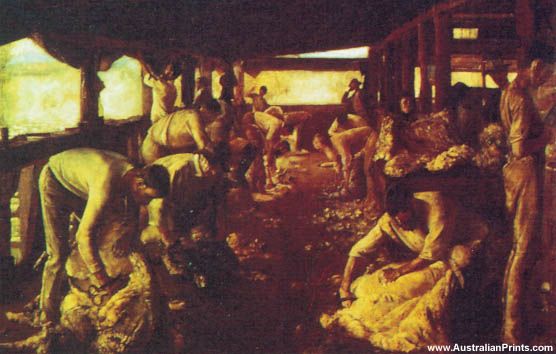Tom Roberts, The Golden Fleece - Shearing At Newstead, 1874